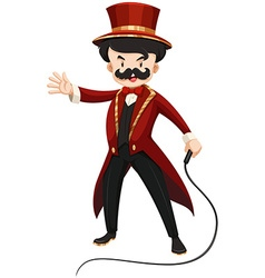 Ring master in red texido with a whip vector