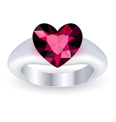 Ring with gemstone heart shaped vector image