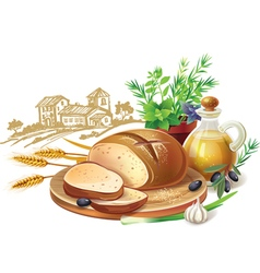 Rustic bread and wheat ears vector image