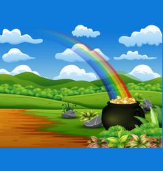Saint patricks day pot gold and rainbow on the vector