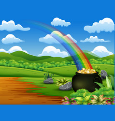 Saint patricks day pot of gold and rainbow on the vector