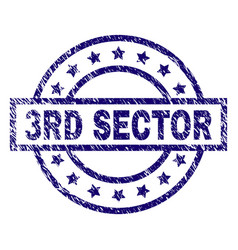 scratched textured 3rd sector stamp seal vector image