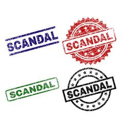 Scratched textured scandal stamp seals vector
