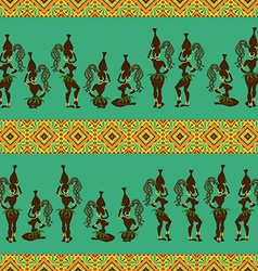 seamless pattern african girls vector image