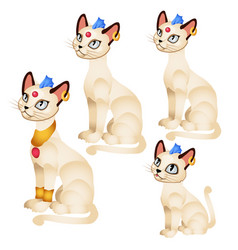 set fantasy animated cats with golden ornaments vector image