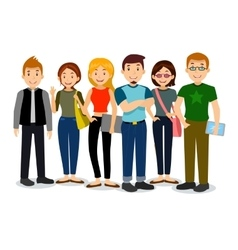 Set of diverse college or university students vector