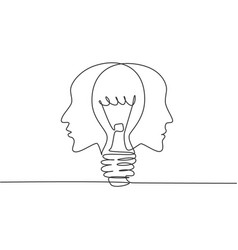 single continuous line drawing twin human face vector image
