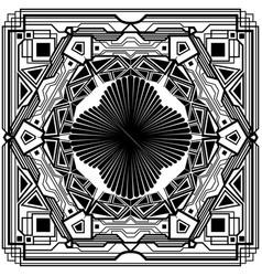 Square black art deco ornament vector