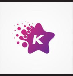 stars pixel for technology symbol letter k design vector image