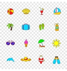 Summer icons set pop-art style vector image