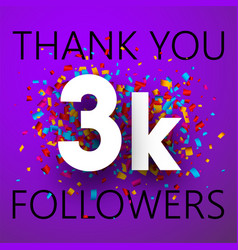 Thank you 3k followers card with colorful vector