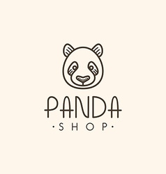 Thin Line Design Template Logotype Panda Bear vector image