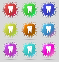 tooth icon Nine original needle buttons vector image