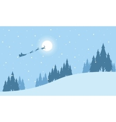 Train santa on the sky at niht landscape vector image