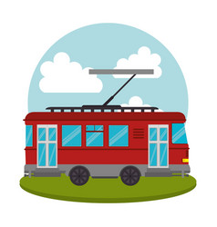 Tram transport public icon vector