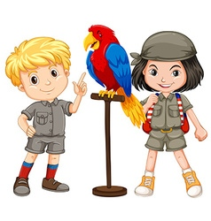 Two children with parrot pet vector image