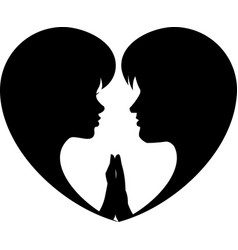 two lovers heart vector image