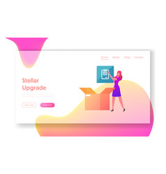 upgrade free download landing page template vector image