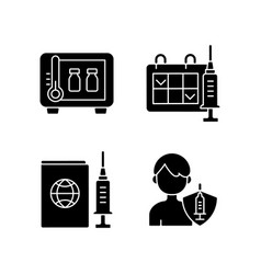 vaccine shot black glyph icons set on white space vector image
