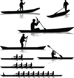 Various river rowers vector