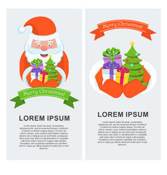 vertical greeting banner with santa claus vector image