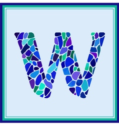 W - letter - Green Watercolor mosaic vector image