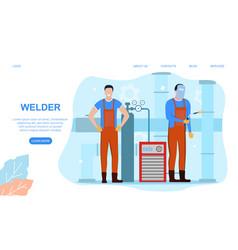 welder and welding service vector image