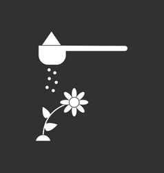 White icon on black background fertilizer vector