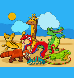 Wild animals cartoon characters group vector