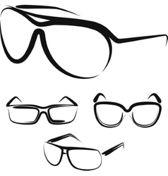 With a set of glasses vector