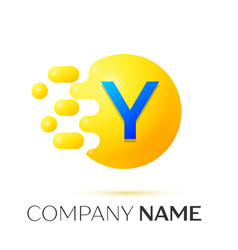 Y letter splash yellow dots and circle bubble vector