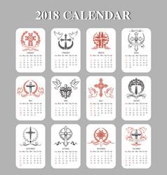 calendar template easter crucifix design vector image
