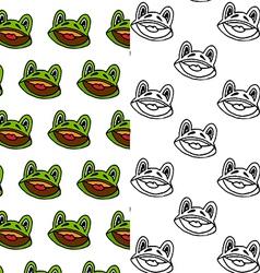 cartoon frog seamless pattern designs vector image