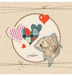 cute fish in love vector image vector image