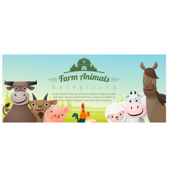farm animals and rural landscape background vector image vector image