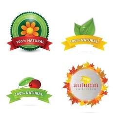 green eco and bio emblems set vector image vector image