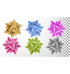 realistic bow set beautiful bright ribbon vector image