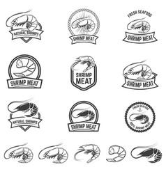 set of shrimp meat emblems fresh seafood design vector image