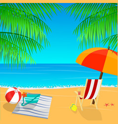 beach view with an umbrella palm leaves and vector image vector image