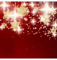 Festive red Christmas background with golden stars vector image vector image