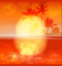 sea sunset with palm tree and light on lens vector image