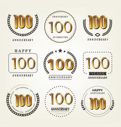 100 years anniversary logo set vector image