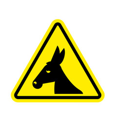 attention donkey driving jackass on yellow vector image