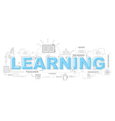 design concept of word learning website banner vector image