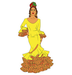 fashion woman in dress for flamenco vector image vector image