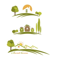 landscape with houses and trees vector image vector image