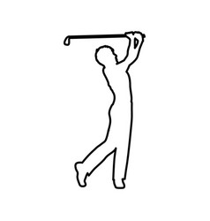 monochrome contour of male golf player vector image