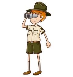 Park ranger looking through binocular vector