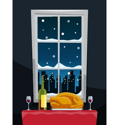 Romantic dinner with turkey on table near window vector image
