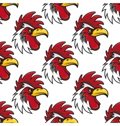 Rooster head seamless background pattern vector image vector image